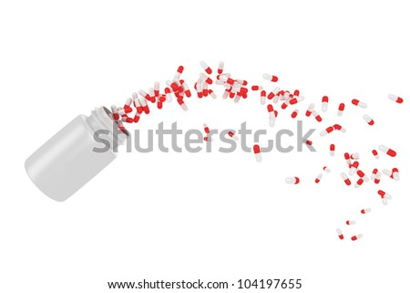 Red pills flying away from open plastic bottle - stock photo
