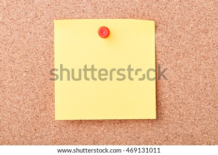 Red Pin Paper on cork board for text and background