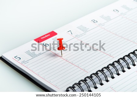 red pin pointed on a spiral weekly agenda - stock photo