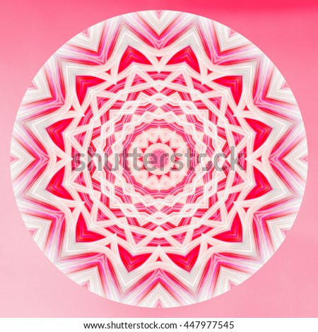 Red pink white kaleidoscope twist turn spiral flower floral design pattern round circle details pretty background backdrop  - stock photo