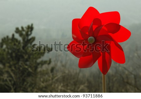 Red pinwheel toy - stock photo