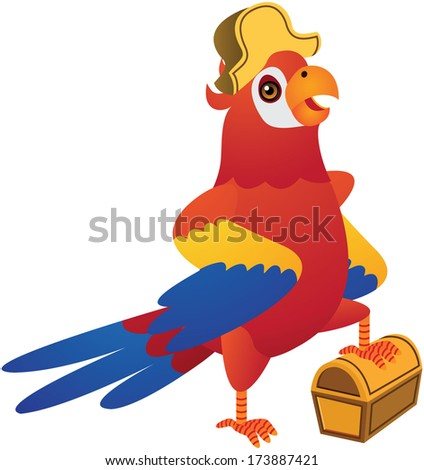 Red Pirate Parrot Cartoon Illustration - stock photo