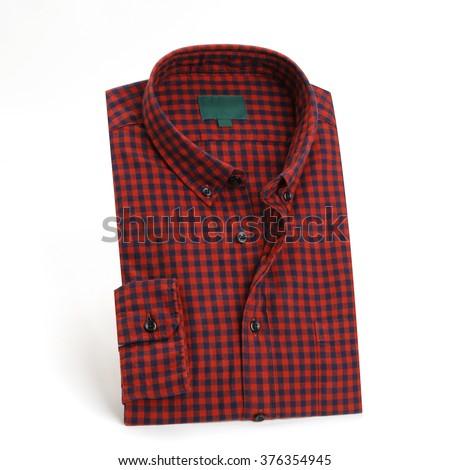 Red plaid shirt - stock photo