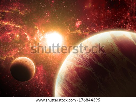 Red Planet and Moon Over a glowing Star - Elements of this image furnished by NASA - stock photo