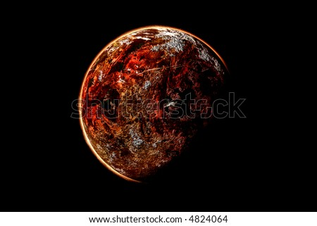 red planet in a black background