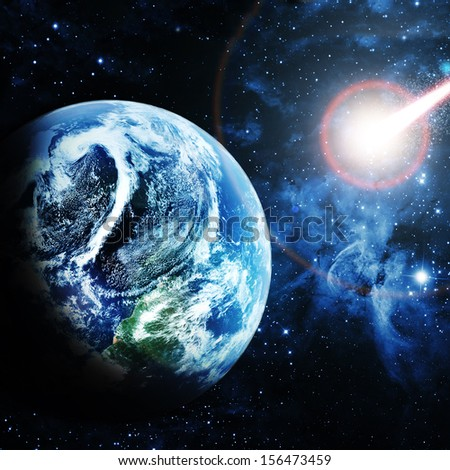 """red planet in beautiful space """"Elements of this image furnished by NASA""""  - stock photo"""