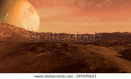 Red planet with arid landscape, rocky hills and mountains, and a giant Mars-like moon at the horizon, for space exploration and science fiction backgrounds. Elements of this image furnished by NASA. - stock photo