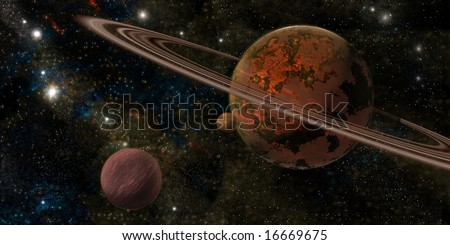 Red planet with rings and two moon - stock photo