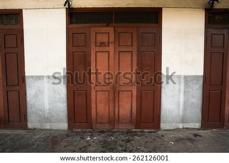red plank door - stock photo