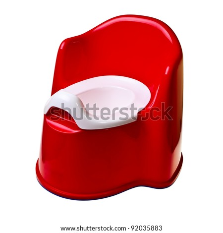 Red plastic baby potty isolated over white background. - stock photo