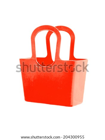 Red plastic bag isolated on white background. - stock photo