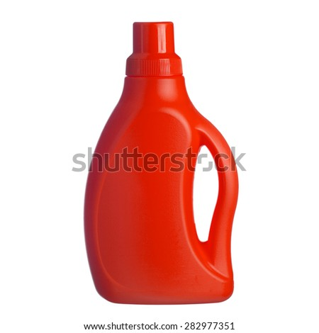 Red plastic bottle of shampoo, conditioner, hair rinse, gel, isolated on a white background - stock photo