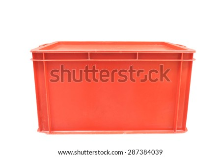 Red plastic box packaging of finished goods product on white background with clipping path.