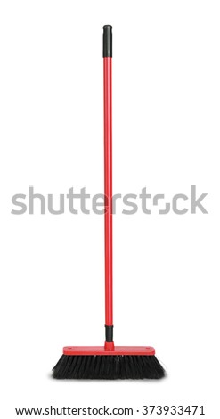 Red plastic broom isolated on white - stock photo