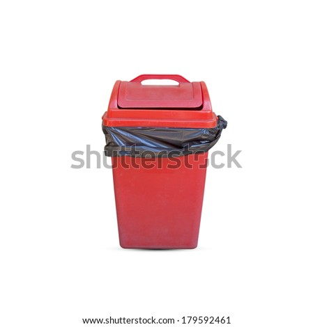 Red plastic bucket isolated on a white background. - stock photo