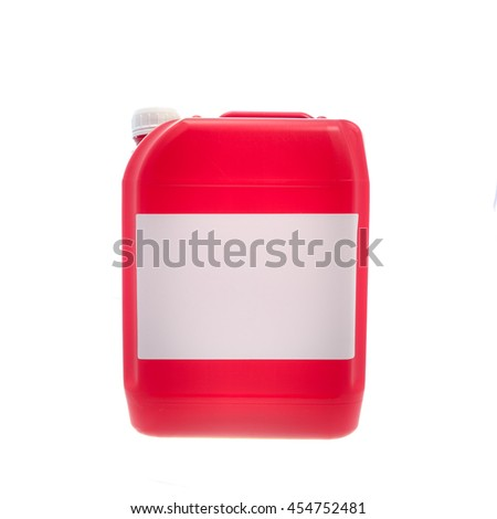 Red plastic canister, container with label; your text here; isolated on white background  - stock photo