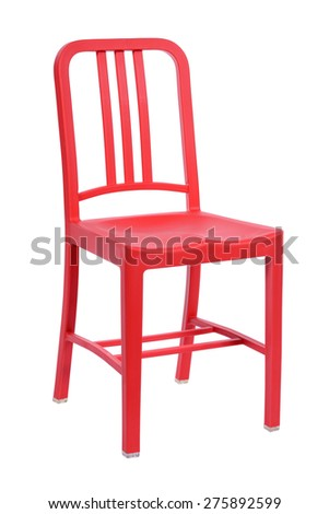 Red plastic chair isolated on a white background - stock photo