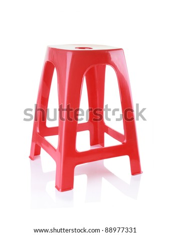red plastic chair isolated on white background - stock photo