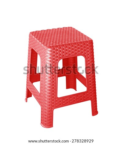 red plastic chair isolated on white bsckground - stock photo