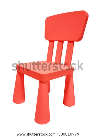 Red plastic chair or stool isolated on white background - stock photo