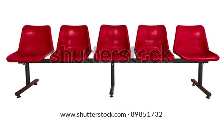 red plastic chairs at the bus stop isolated on white - stock photo
