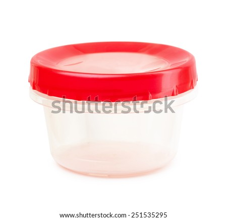 Red plastic container on a white background  - stock photo