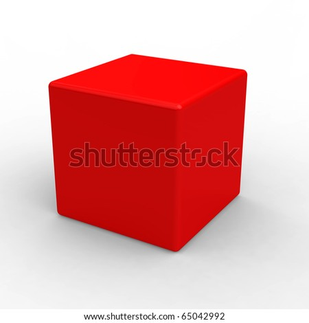 Red plastic cube isolated on white - stock photo