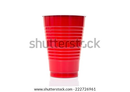Red Plastic cup isolated against a white background - stock photo