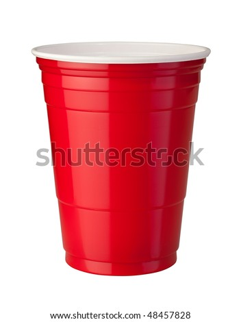 Red Plastic Cup isolated on white with a clipping path. - stock photo