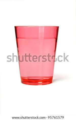 Red Plastic Cup of Water on White Background - stock photo