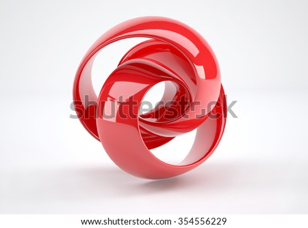 red plastic 3d abstract object isolated on white background. - stock photo