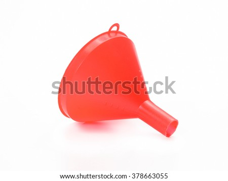 red plastic funnel isolated on white