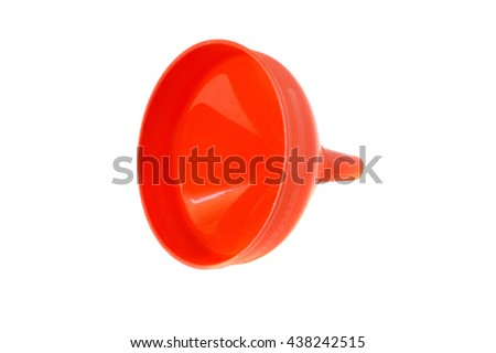 red plastic funnel isolated on white backgrond