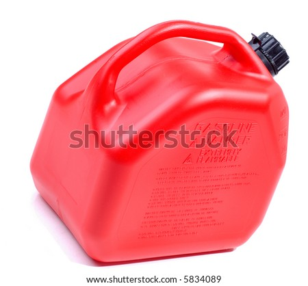 Red Plastic Gas Can Ready For Emergency Breakdowns