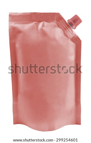 Red plastic pouch for ketchup with batcher or doy pack with cap isolated on white background - stock photo