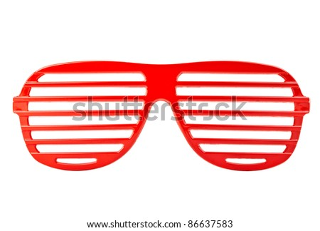 red plastic shutter shades sunglasses isolated on white background - stock photo