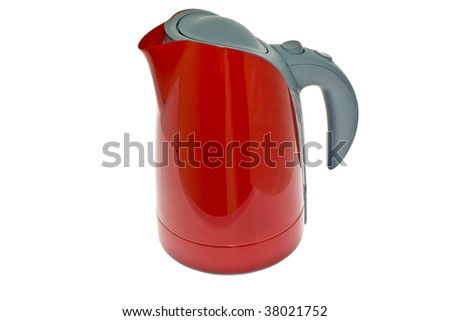 Red plastic teapot with a grey insert from above, on a white background