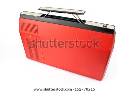 Red plastic tool box isolated on white