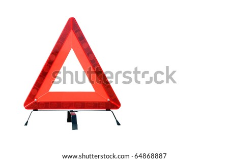 Red plastic warning triangle isolated against a white background - stock photo