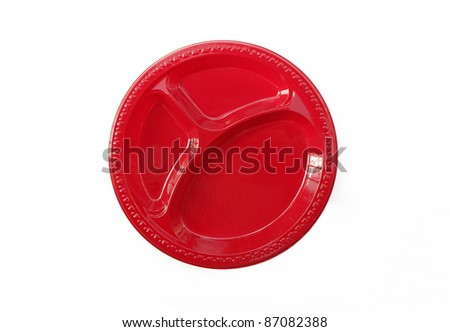 Red Plate Dish with Three Food Compartments isolated on white background - stock photo