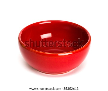 red plate on white background - stock photo