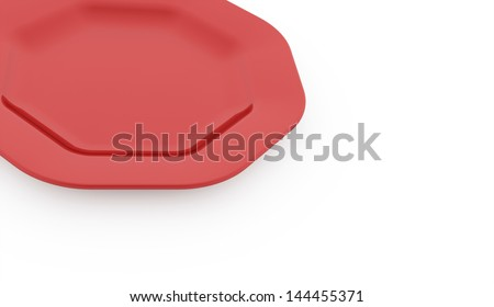 Red plate on white background concept