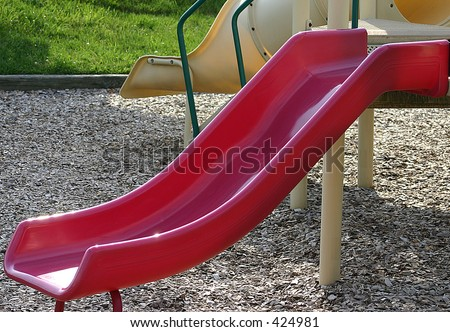 red playground slide - stock photo