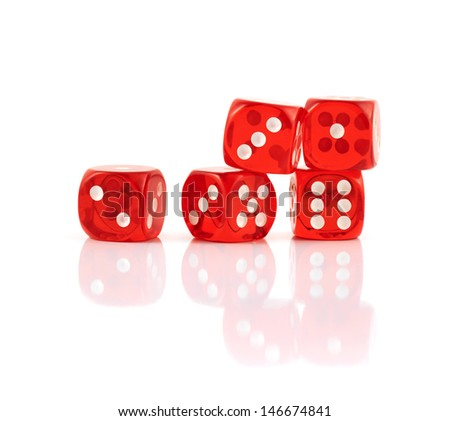 Red playing dices isolated over white background - stock photo