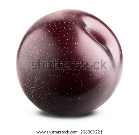 Red plum fruit isolated on white background. Clipping Path - stock photo
