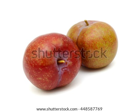 Red Plum fruits isolated