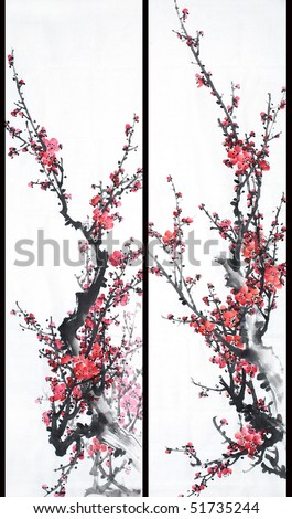 Red Plum-Traditional Chinese Painting. - stock photo