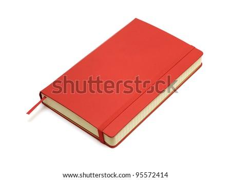 Red pocket journal on white - stock photo
