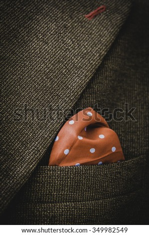 Red pocket square. - stock photo