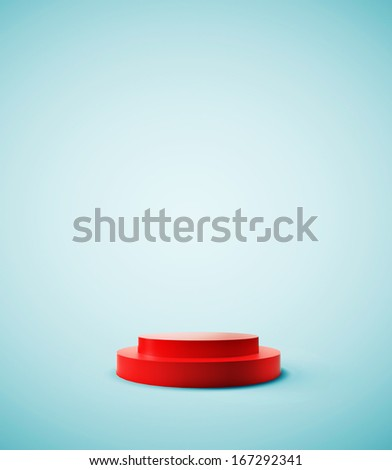 red podium on a blue background - stock photo